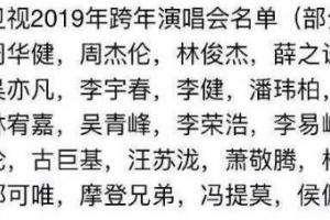 2019江苏卫视跨年演唱会嘉宾名单