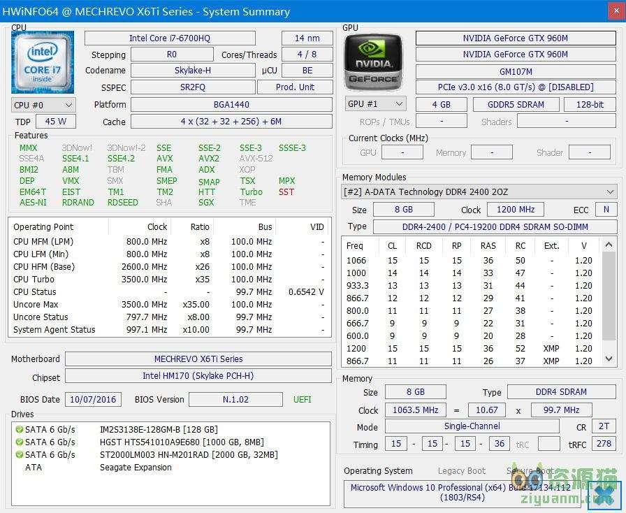 HWiNFO 6.01-3640綠色便攜版(肥腸好用的硬件檢測工具)
